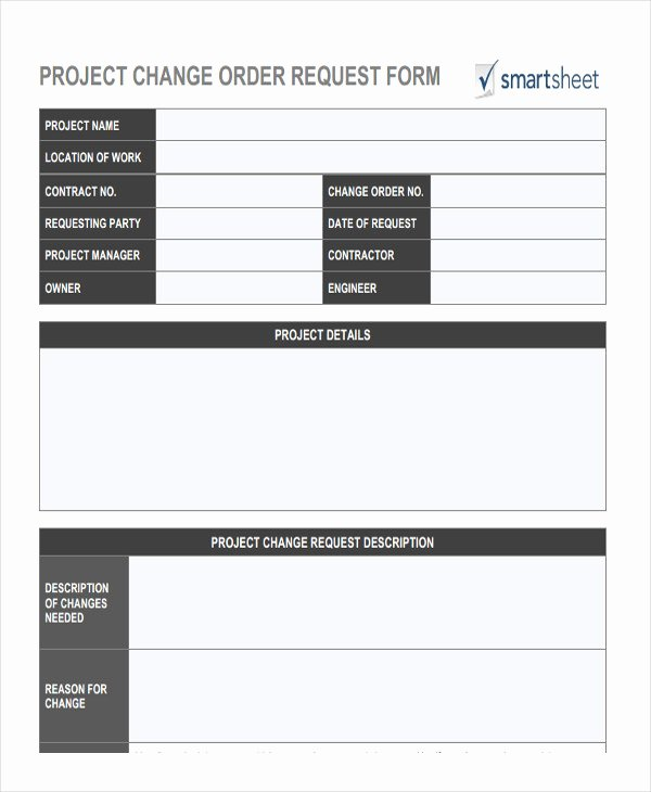 Change order Request Template Beautiful Change order forms 9 Free Word Pdf format Download