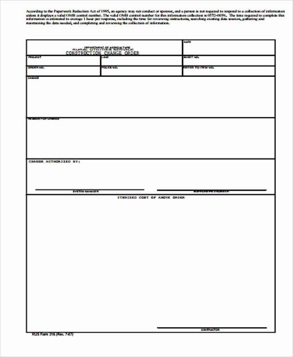 Change order Request Template Elegant 7 Sample Construction Change order forms