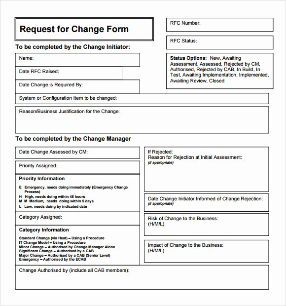 Change order Request Template Elegant 8 Change Request Samples