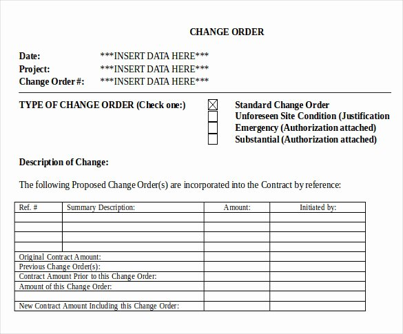 sample change order