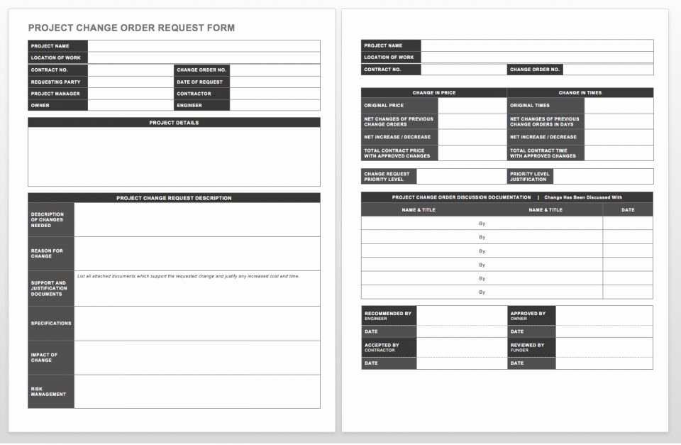 Change order Request Template New Plete Collection Of Free Change order forms