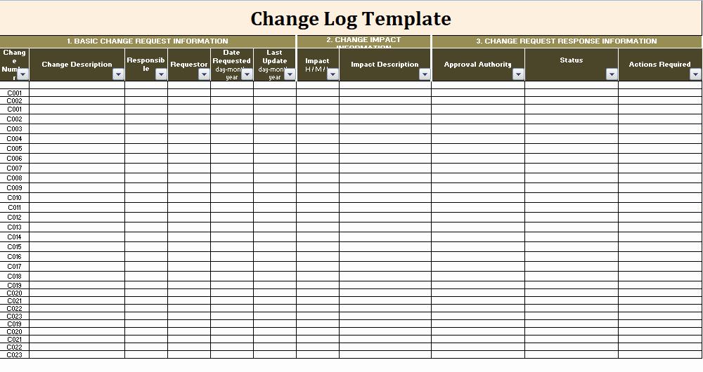 Change order Template Excel Luxury Change Log Template