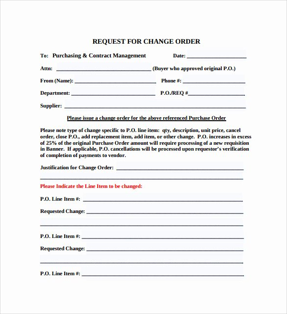 Change order Template Word Lovely 8 Change order Templates Docs Pages
