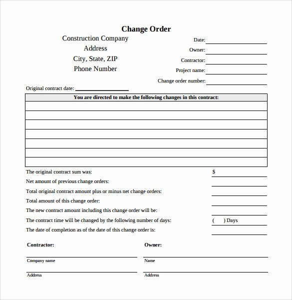 Change order Template Word Luxury 8 Change order Templates Docs Pages