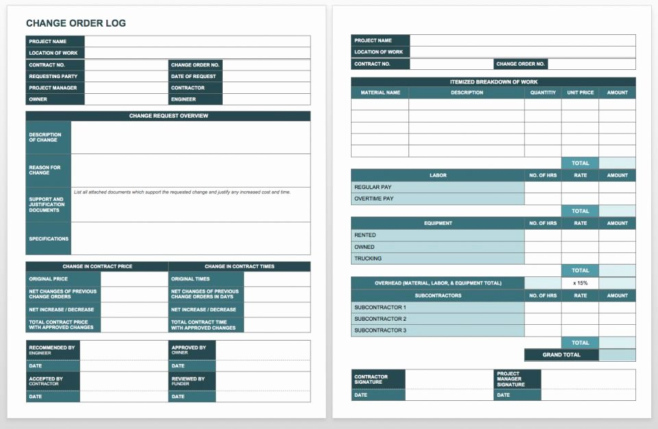 Change order Template Word Unique Plete Collection Of Free Change order forms