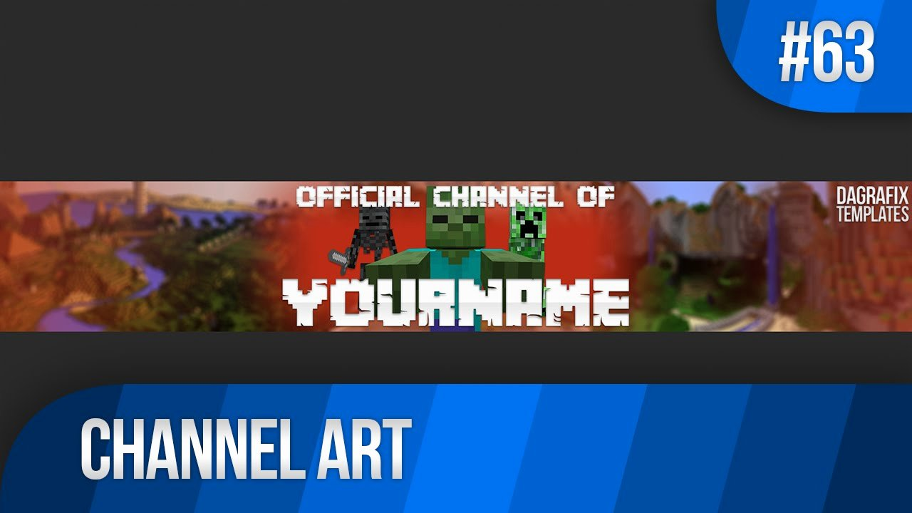 Channel Art Template Photoshop Fresh Minecraft Channel Art Template 63 Free Shop