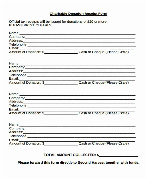 Charitable Donation form Template Awesome 36 Printable Receipt forms