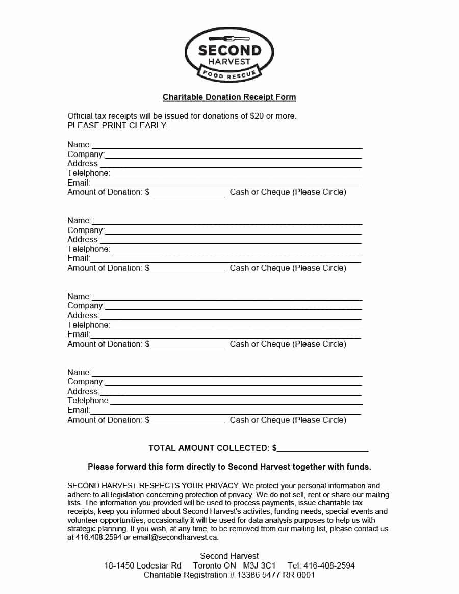 Charitable Donation form Template Best Of 40 Donation Receipt Templates & Letters [goodwill Non Profit]