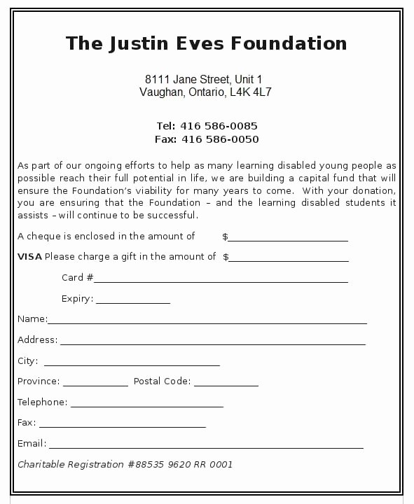 Charitable Donation form Template New 6 Charitable Donation form Templates formats Examples