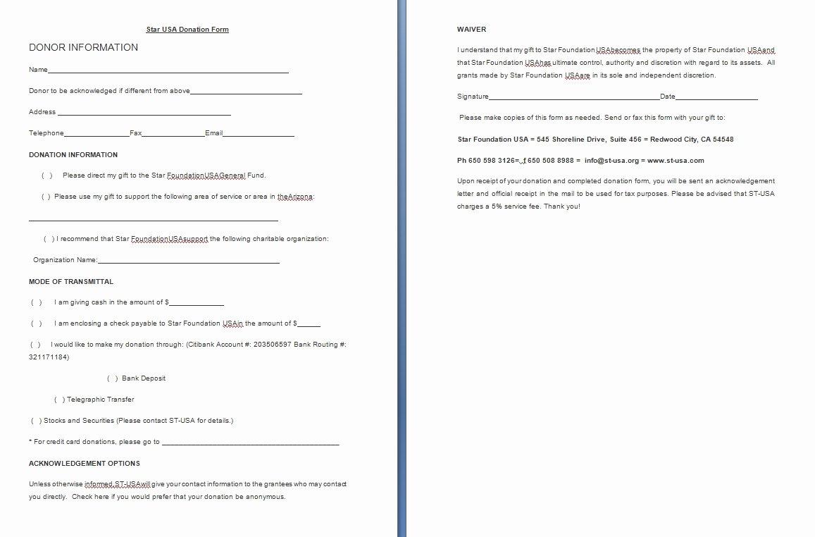Charitable Donation form Template Unique Donation form Template Free formats Excel Word