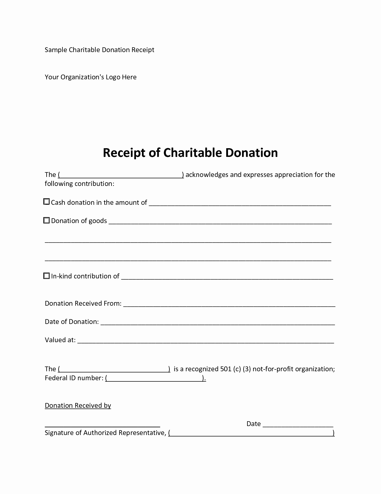 Charitable Donation Receipt Template Awesome 6 Best Of 501c3 Donation Receipt Template Charity