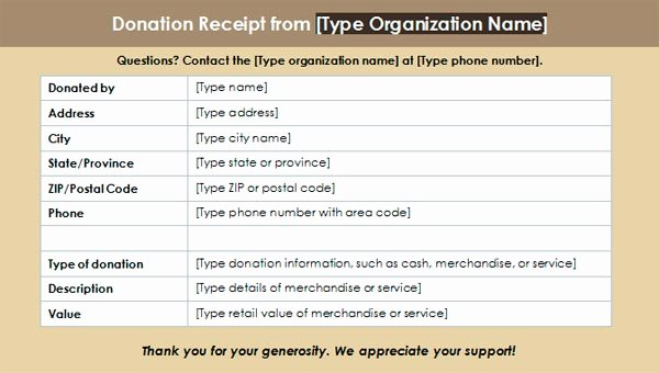 Charitable Donation Receipt Template Beautiful 16 Donation Receipt Template Samples