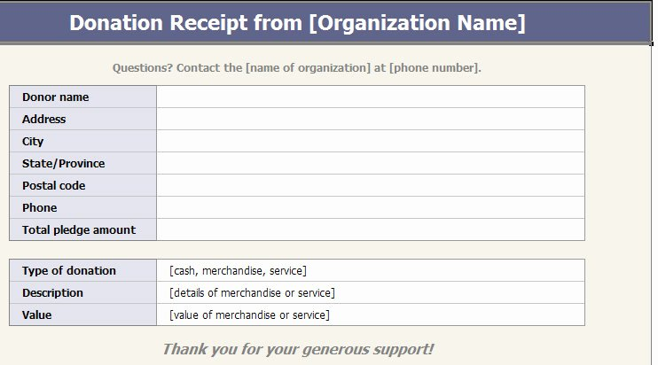 Charitable Donation Receipt Template New Blank Receipt Template
