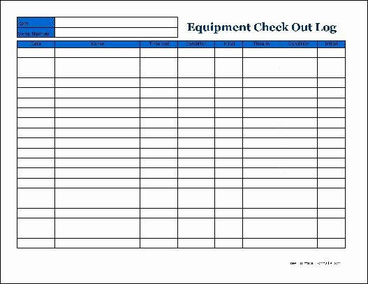 Check Out Sheet Template Fresh Free Detailed Equipment Check Out Wide From formville