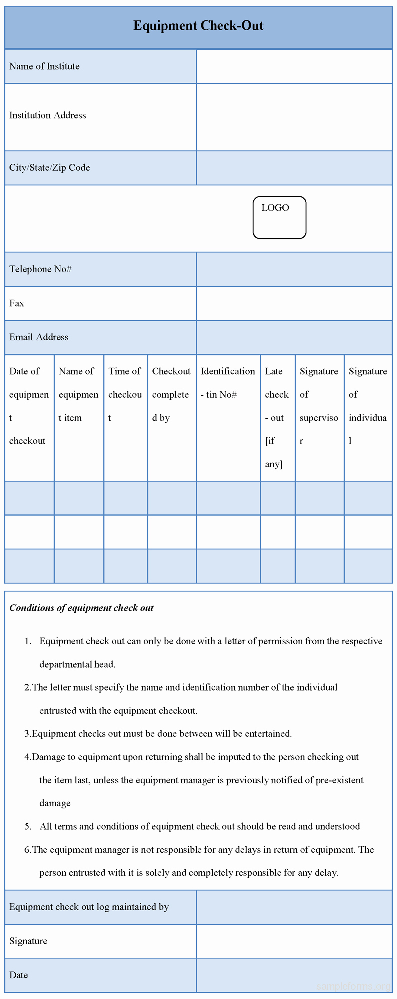 Check Out Sheet Template New Equipment Checkout form Sample forms