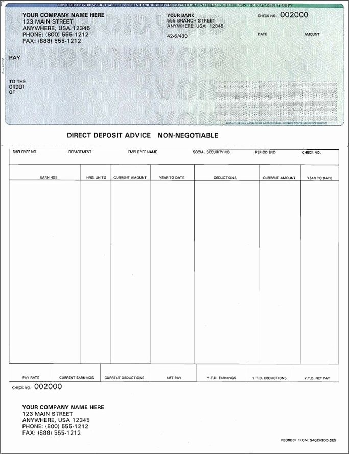 Check Printing Template Excel Fresh Blank Payroll Check Template Invitation Template
