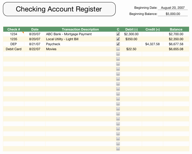Check Register Template Excel Awesome 5 Check Register Templates formats Examples In Word Excel