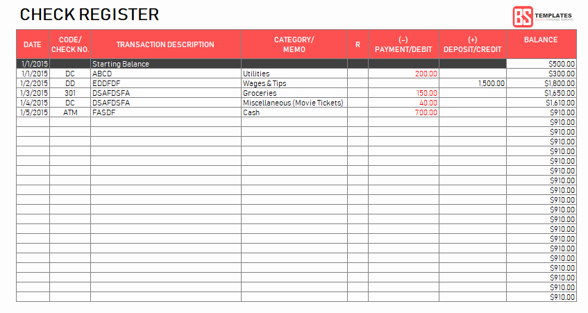 Check Register Template Excel Inspirational Excel Checkbook Register Template