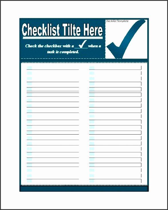 Check Template for Word Awesome 9 Checklist Templates Sampletemplatess Sampletemplatess