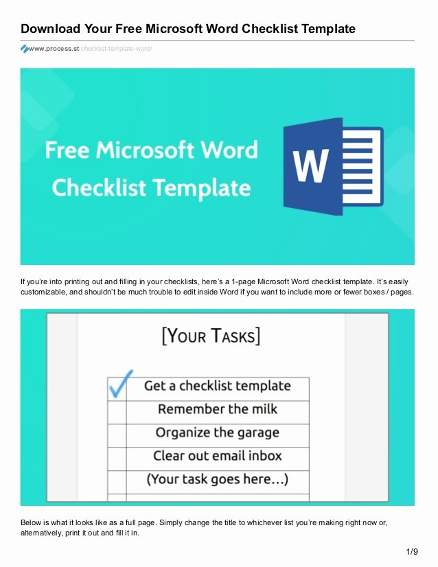 Check Template for Word Luxury Download Your Free Microsoft Word Checklist Template