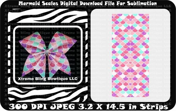 Cheer Bow Design Template Unique Mermaid Scallops Sublimation Cheer Bow Strips Download