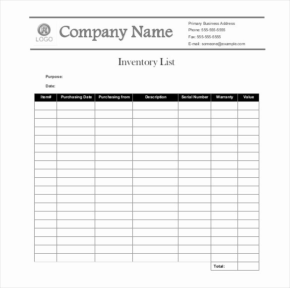 Chemical Inventory List Template Luxury Sample Inventory List 30 Free Word Excel Pdf