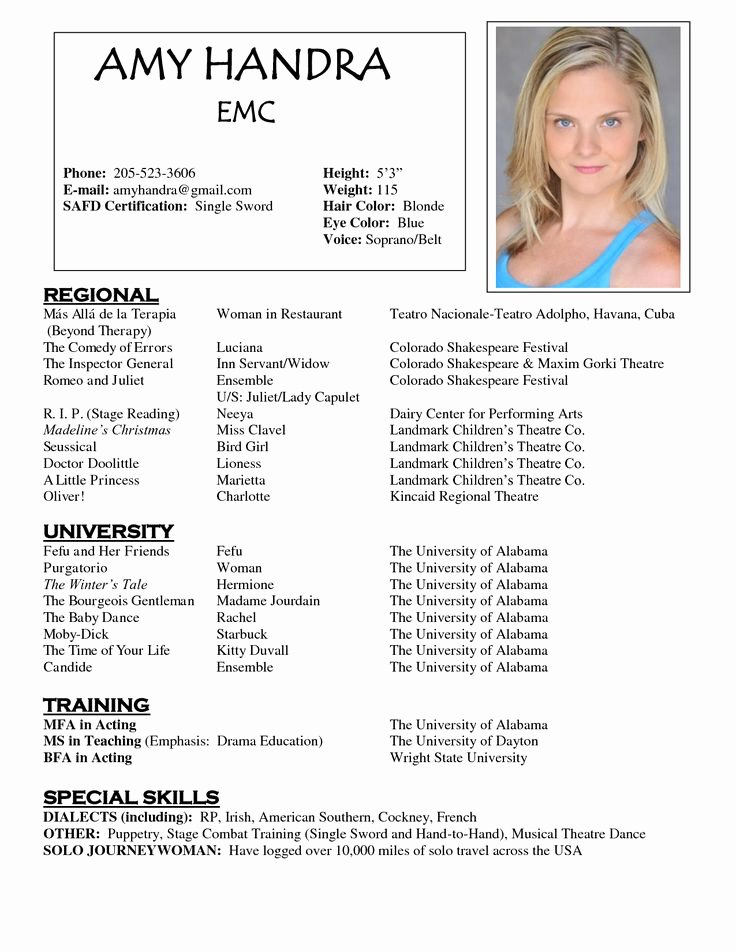 Child Acting Resume Template Beautiful Pin Oleh Jobresume Di Resume Career Termplate Free