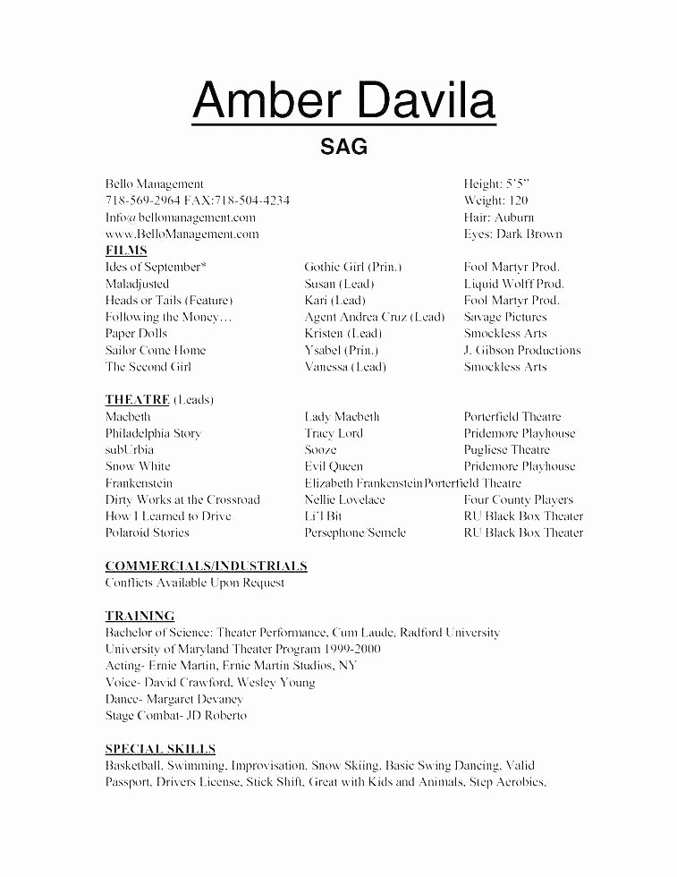 Child Acting Resume Template Fresh Child Resume Amosfivesix