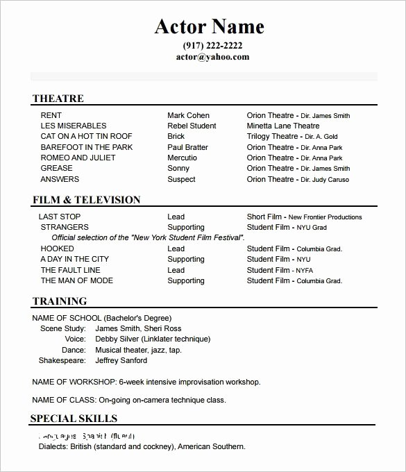 Child Acting Resume Template Fresh Kids Resume