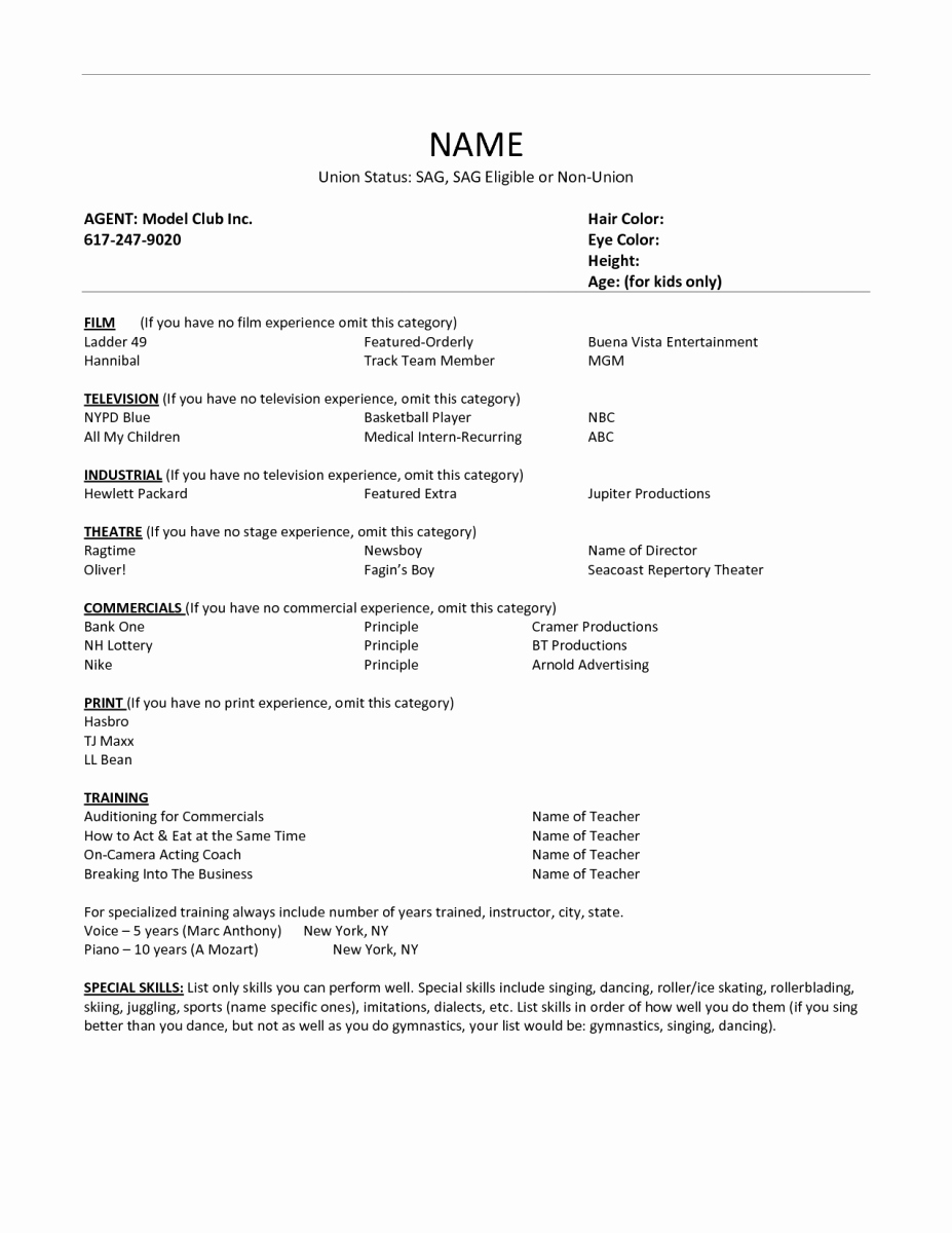 Child Acting Resume Template Lovely Acting Resume Example