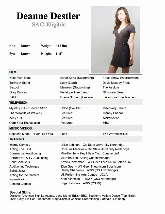 Child Acting Resume Template Lovely Acting Resume Sample No Experience