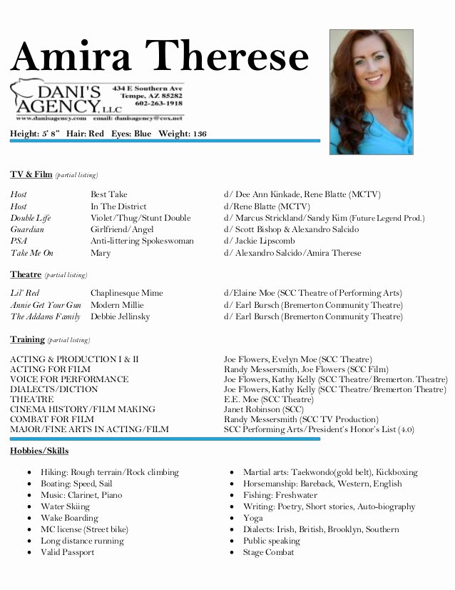 Child Acting Resume Template Lovely Amira therese Acting Resume