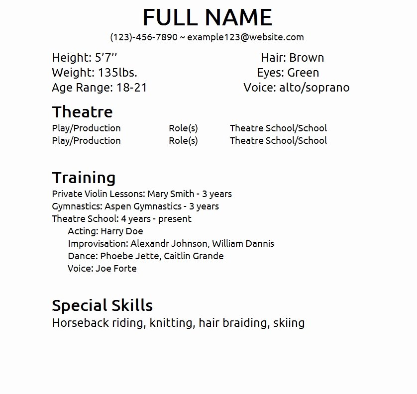 Child Acting Resume Template Luxury Actor Resume Sample