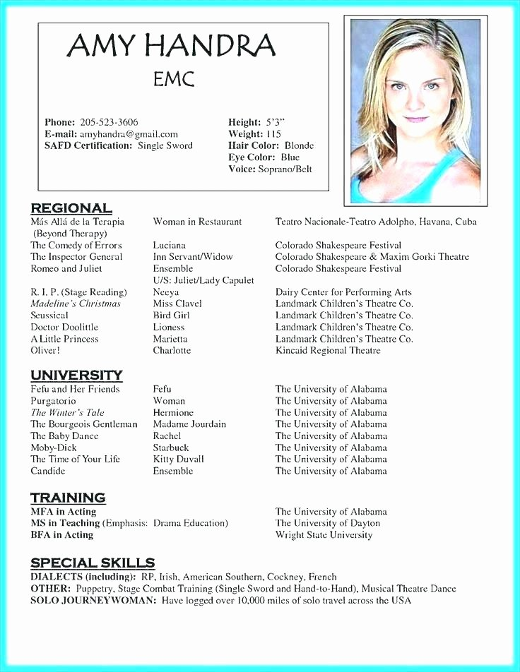 Child Acting Resume Template Luxury Example Child Actor Resume Amazing Decoration for