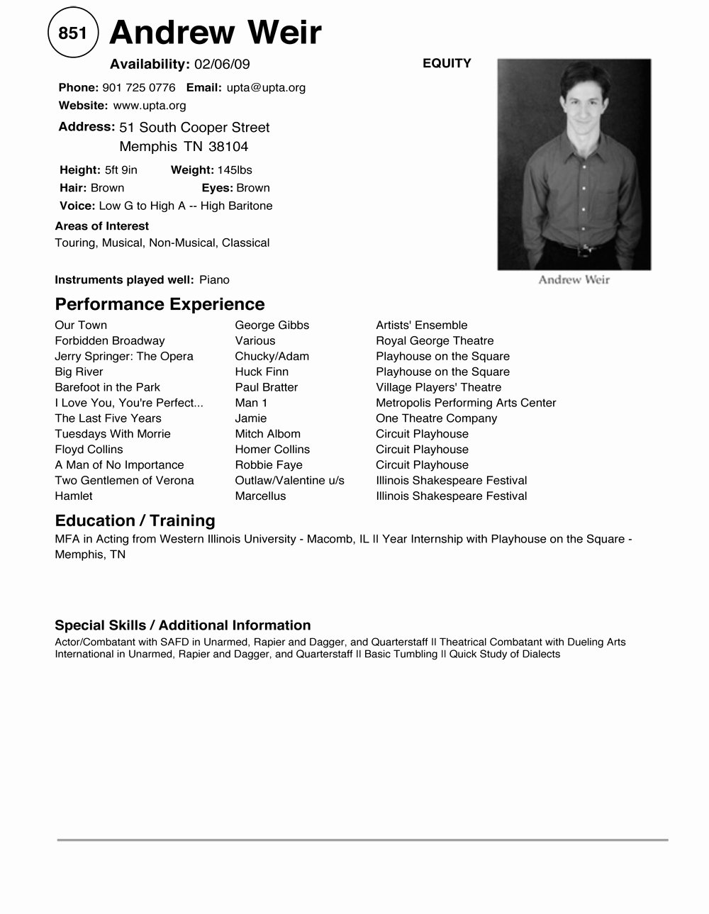 Child Acting Resume Template Unique Acting Resume Example
