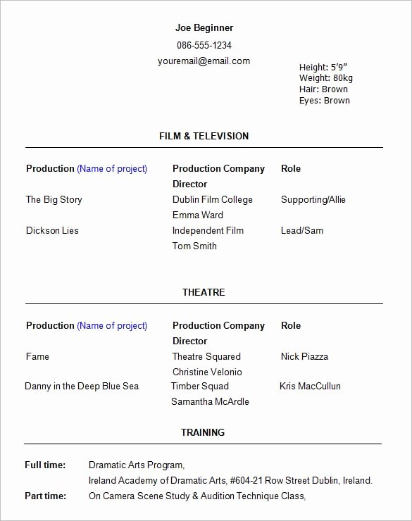 Child Acting Resume Template Unique Acting Resume Templates Free formats Excel Word