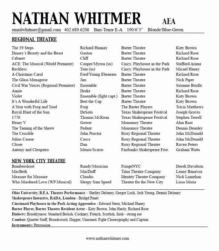 Child Actor Resume Template Awesome Inspirational Gallery Sample Child Actor Resume