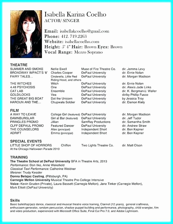 Child Actor Resume Template Best Of Awesome Professional Actors Resume Template Model