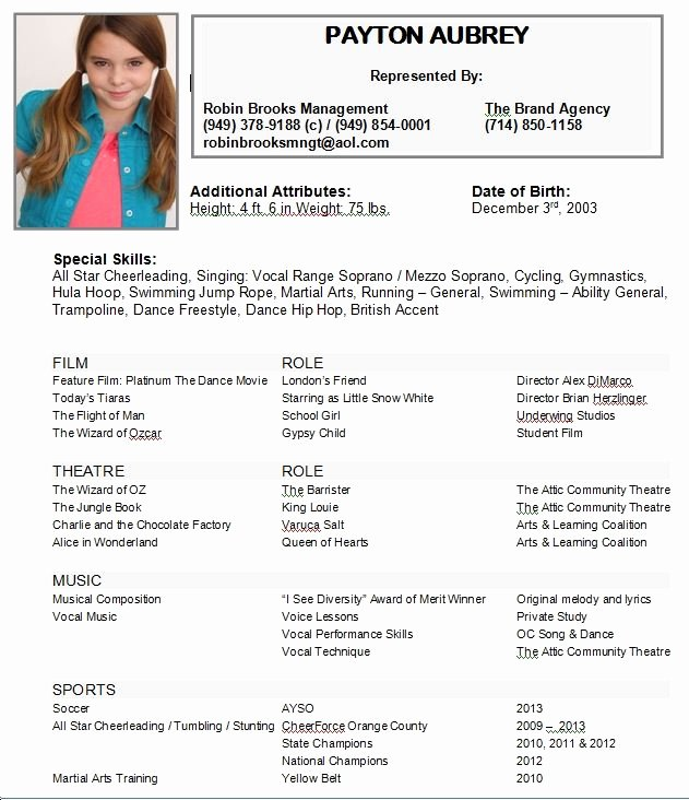 Child Actor Resume Template Elegant Child Acting Resumes Actor Resume Kids Examples You the