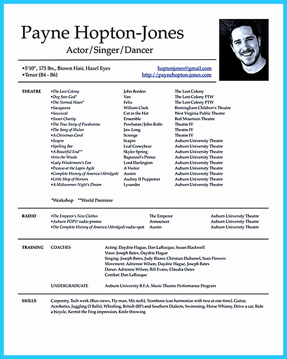 Child Actor Resume Template Lovely Actor Resume Template Gives You More Options On How to