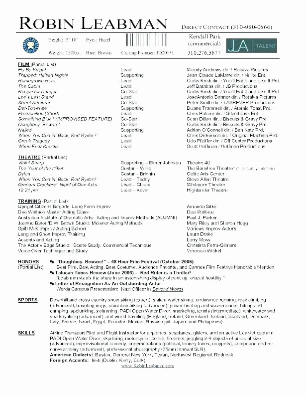 Child Actor Resume Template Luxury Beginner Acting Resume Sample Acting Resumes Actor Resume