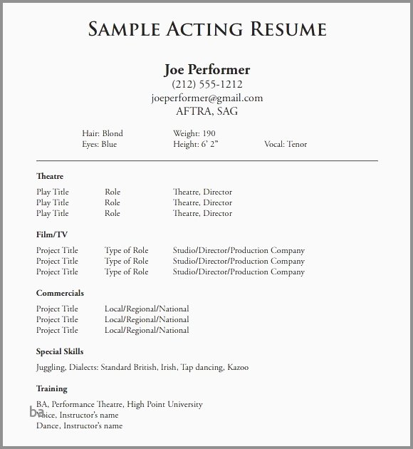 Child Actors Resume Template Beautiful 30 Elegant Child Actor Resume Samples
