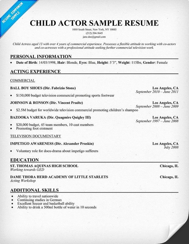 Child Actors Resume Template Best Of Child Actor Sample Resume Child Actor Sample Resume are