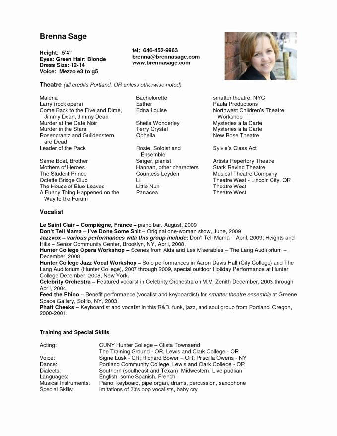 Child Actors Resume Template Fresh Acting Resume Sample