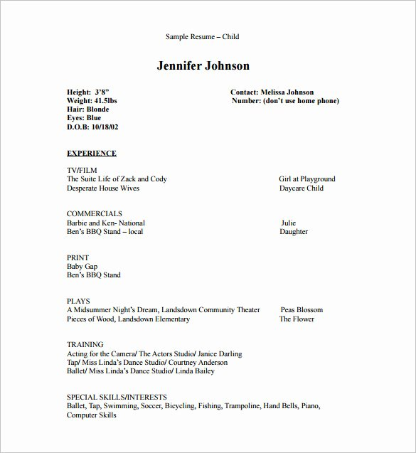 Child Actors Resume Template Lovely Acting Resume Template 7 Free Word Excel Pdf format