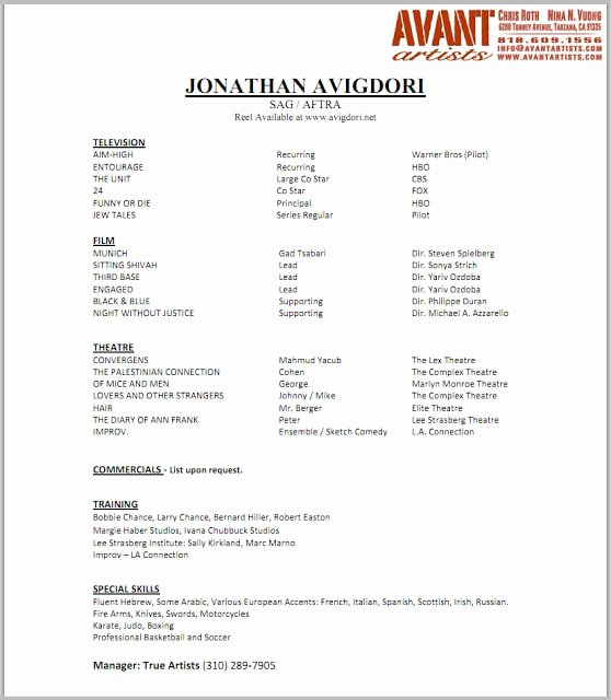 Child Actors Resume Template Unique Actor Resume Nancy Chartier Studios