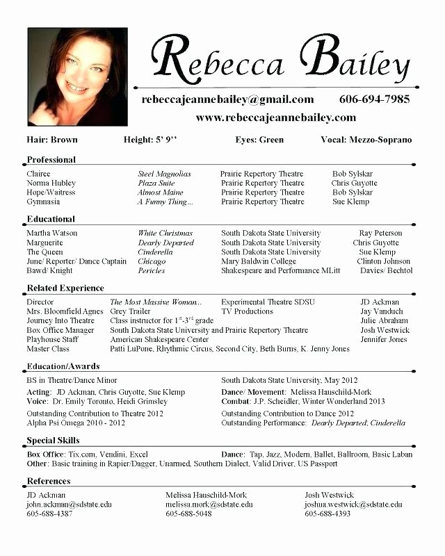 Child Actors Resume Template Unique Resume for Actors Microdataproject