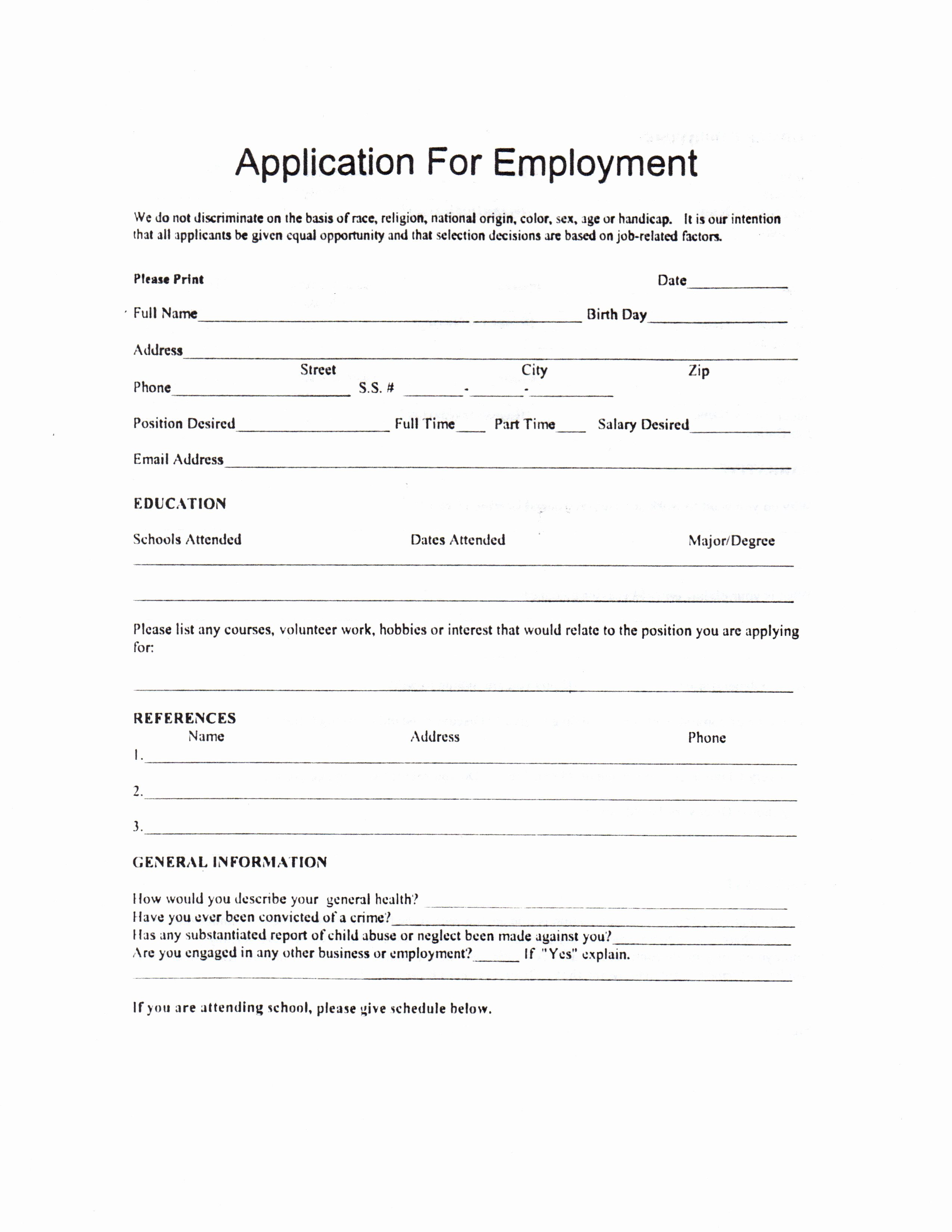 Child Care Application Template Awesome Child Care Employment Application Job Pinterest