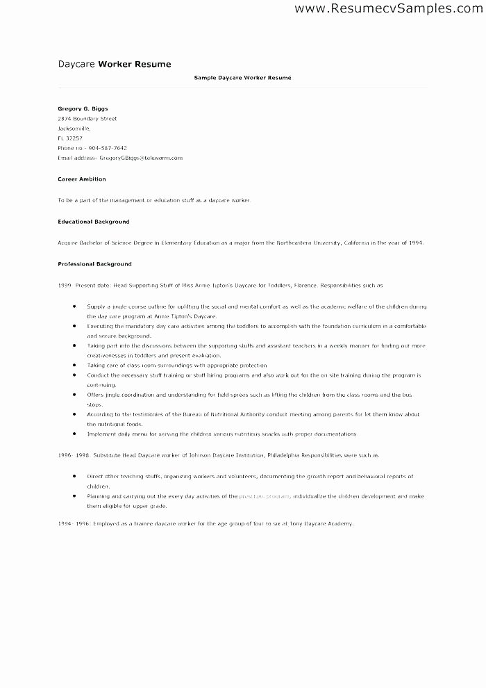 Child Care Application Template Best Of Preschool Daycare Sample Registration form Job Application