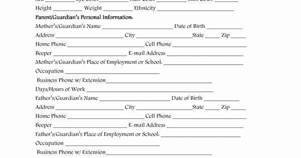 Child Care Application Template Elegant Day Care Application forms Template Daycare